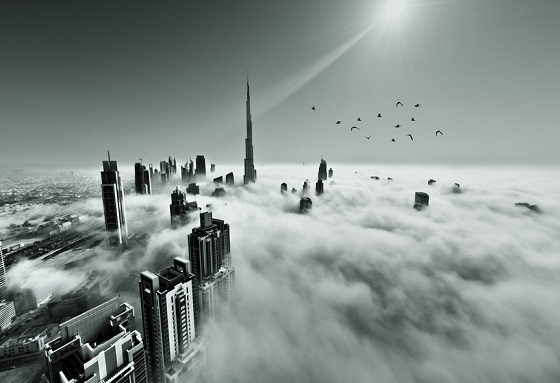 Dubai skyline in fog
