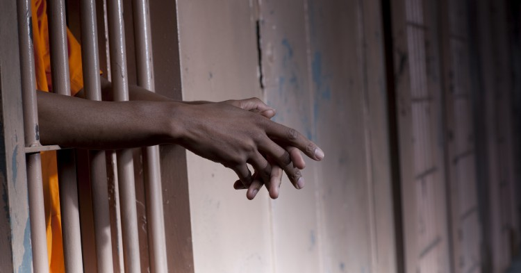 Prisoner's Arms Resting on Cell Bars